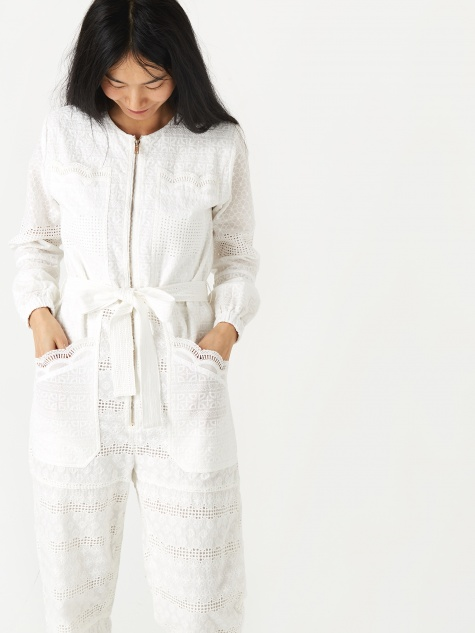 Finlay Broderie Anglaise Boilersuit - White