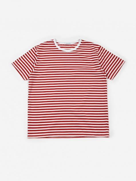 COOLMAX Striped T-Shirt - Sunrise Red/White