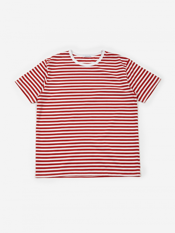 Nanamica COOLMAX Striped T-Shirt - Sunrise Red/White (Image 1)