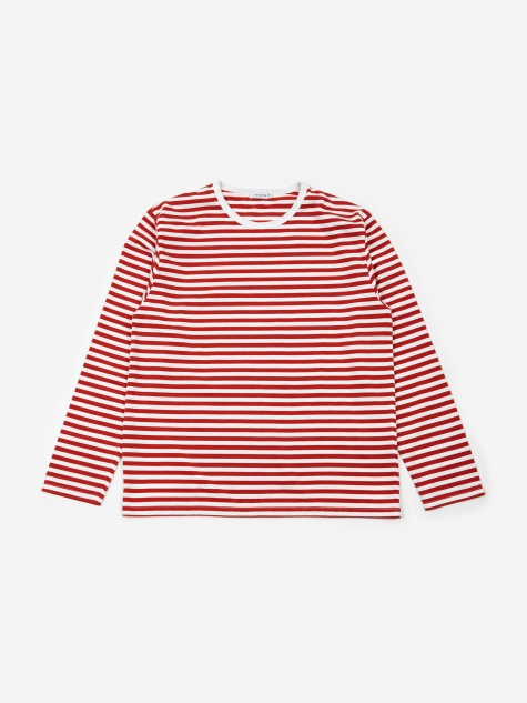 COOLMAX Striped Longsleeve T-Shirt - Sunrise Red/White