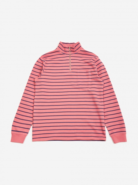 Tres Bien Striped Half Zip Sweatshirt - Pink