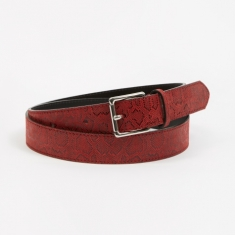 Tres Bien Snake Leather Belt - Red