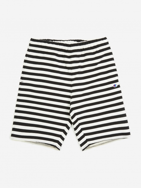 Reverse Weave Striped Bermuda Shorts - Black/White