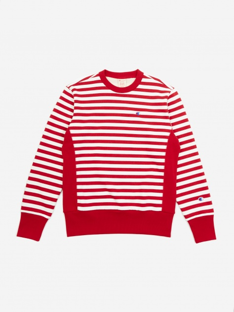 Reverse Weave Crewneck Sweatshirt - Red/White