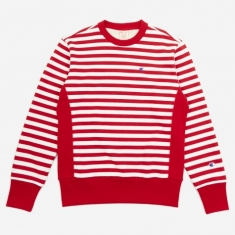 Champion Reverse Weave Crewneck Sweatshirt - Red/White