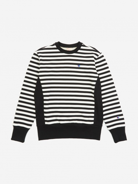Reverse Weave Crewneck Sweatshirt - Black/White