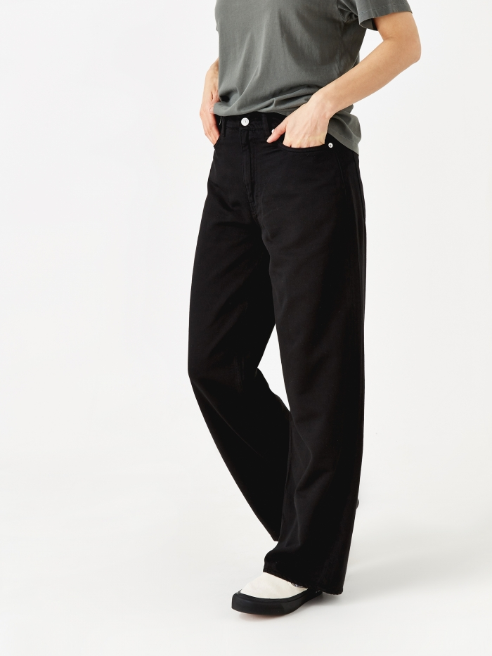 Our Legacy Full Cut Trouser - Washed Black Satin (Image 1)