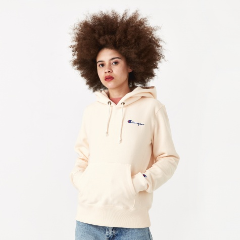 Reverse Weave Hooded Sweatshirt - Light Peach