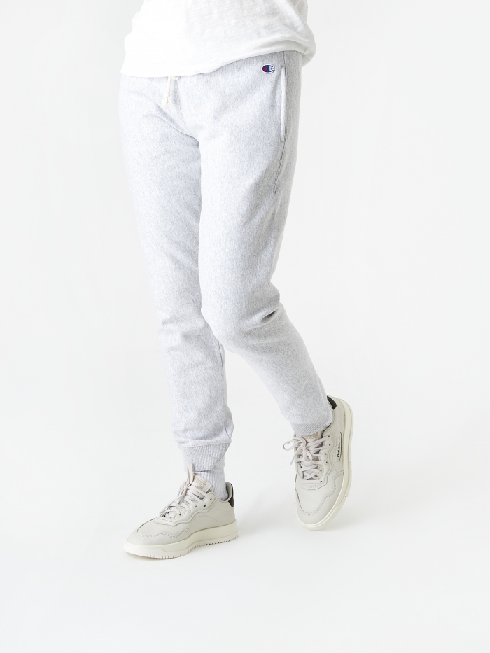 Champion Reverse Weave Elastic Cuff Pants - Grey Marl (Image 1)