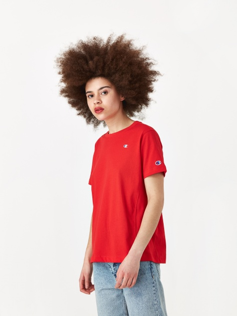 Reverse Weave Crewneck T-Shirt - Red