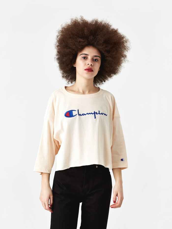 Champion Reverse Weave Cropped 3/4 Sleeve T-Shirt - Light Peach (Image 1)
