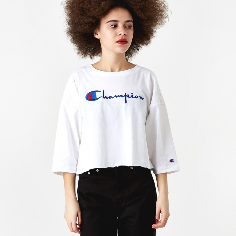 Reverse Weave Cropped 3/4 Sleeve T-Shirt - White