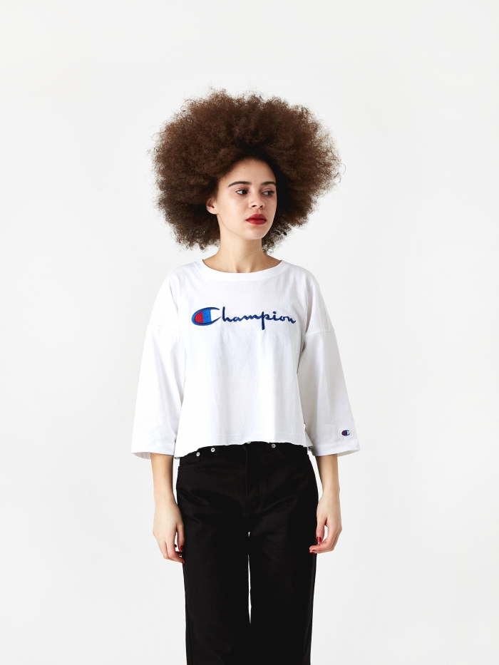 Champion Reverse Weave Cropped 3/4 Sleeve T-Shirt - White (Image 1)