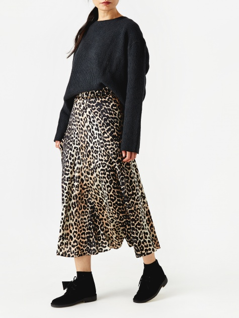 Blakely Silk Skirt - Leopard