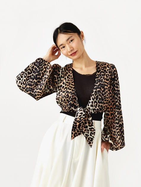 Blakely Silk Tie Top - Leopard