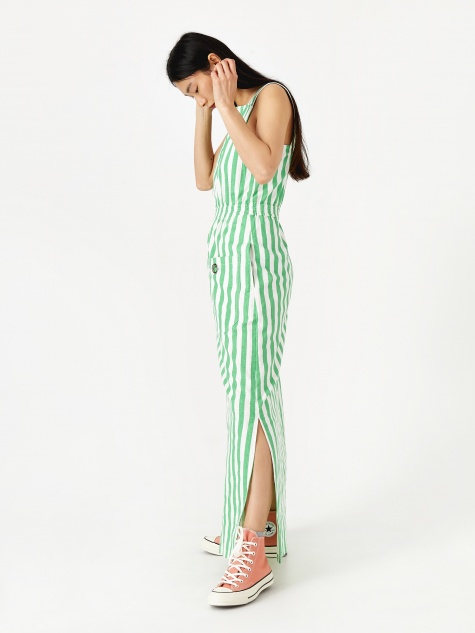Reginald Dress - Green Striped