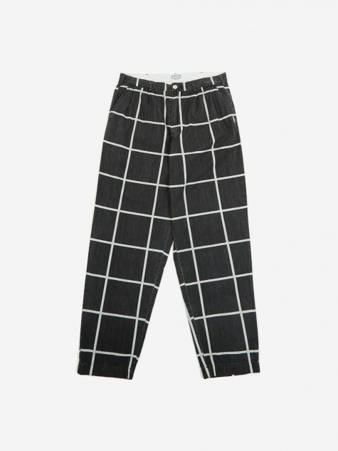 C.E Cav Empt Grid Denim Wide Chino Trouser - Black
