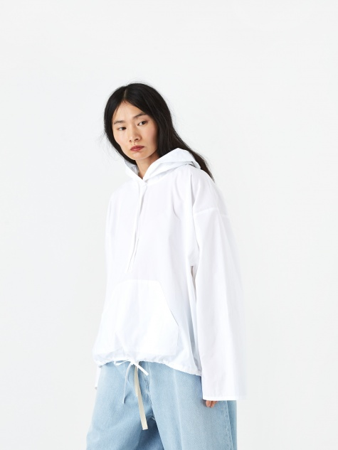 Tie Detail Hooded Top - White