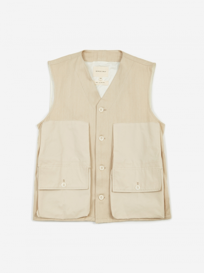 Nicholas Daley Military Waistcoat - Natural Denim (Image 1)
