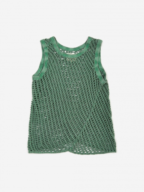 Handknitted Garment Dyed Vest - Light Green