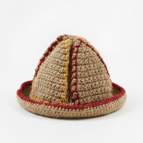 Handknitted Jute Bucket Hat - Natural/Yellow/Red