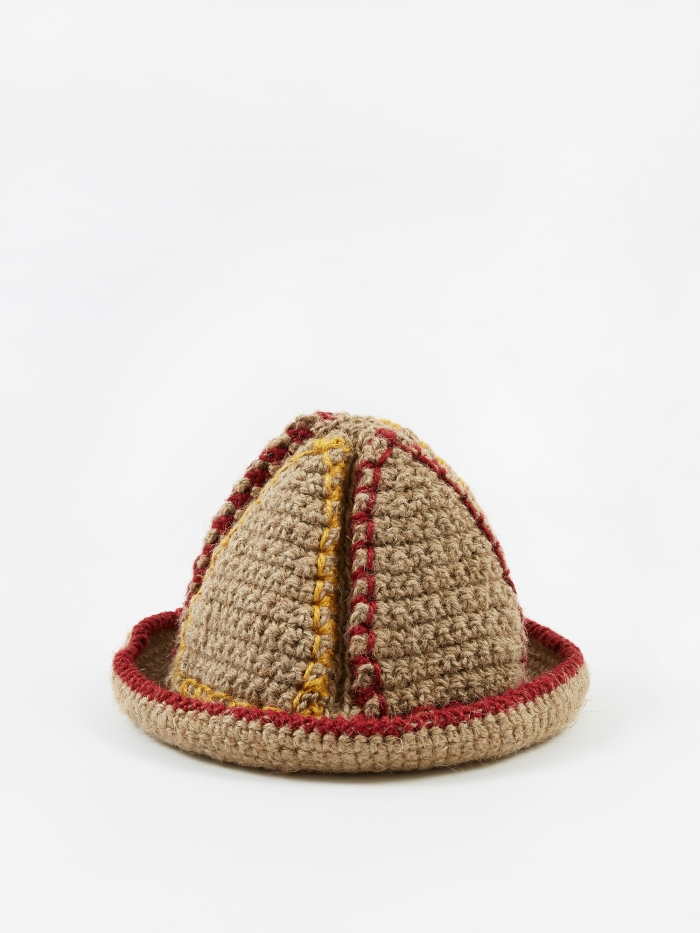 Nicholas Daley Handknitted Jute Bucket Hat - Natural/Yellow/Red (Image 1)