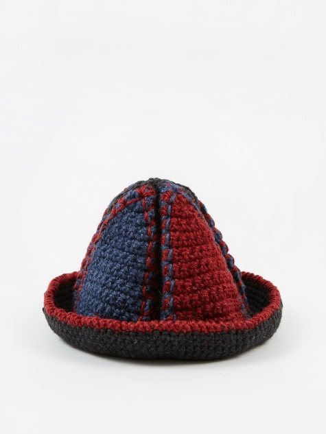 Handknitted Jute Bucket Hat - Blue/Red/Black