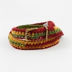 Nicholas Daley Jute Chrochete Belt - Red/Yellow/Green