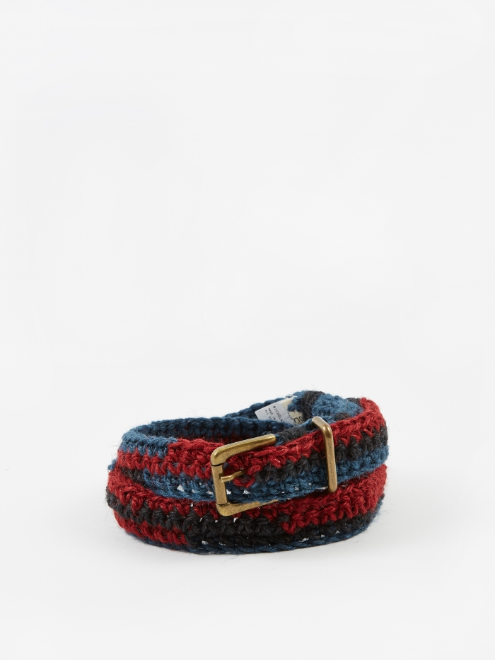 Nicholas Daley Jute Chrochete Belt - Blue/Red/Black (Image 1)