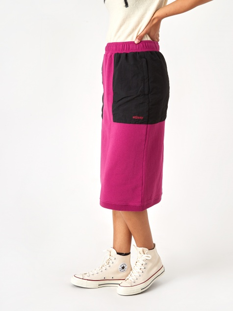 Simone Contrast Pocket Skirt - Berry