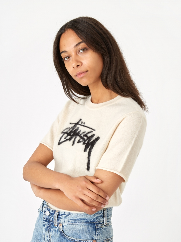 Stussy Sidney Brushed Out Short Sleeve Sweater - Natural (Image 1)