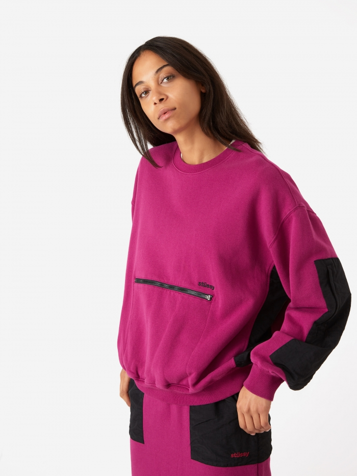 Stussy Simone Pocket Fleece Crewneck - Berry (Image 1)