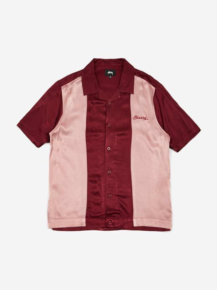 2 Tone Bowling Shirt   Burgundy by Stussy