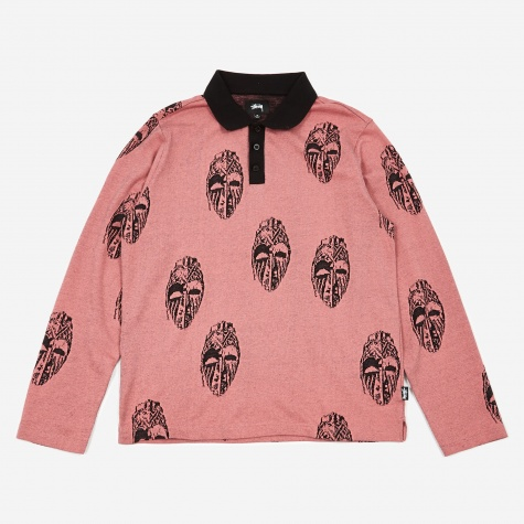 Mask Longleeve Polo Shirt - Pink