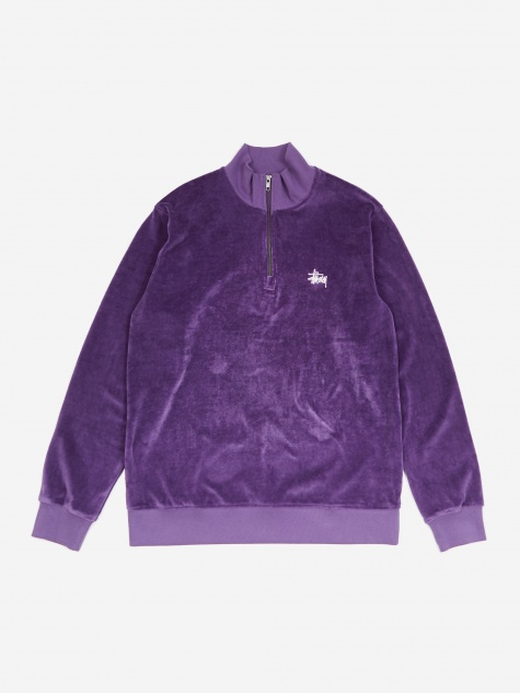 Velour Longsleeve Zip Mock Neck Sweater - Purple