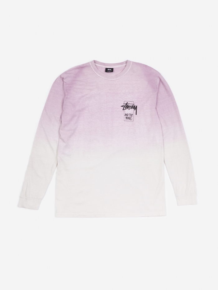 Stussy Offering Dip Dyed Longsleeve T-Shirt - Purple (Image 1)