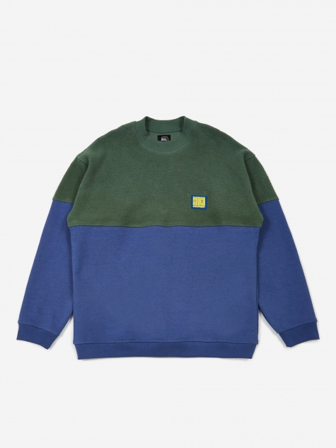 Split Crewneck Sweatshirt - Green/Blueberry