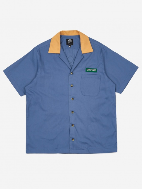 Bowling Shirt - Slate Blue/Yellow