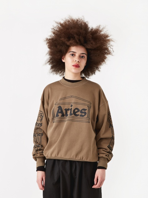 Column Crewneck Sweatshirt - Khaki/Black