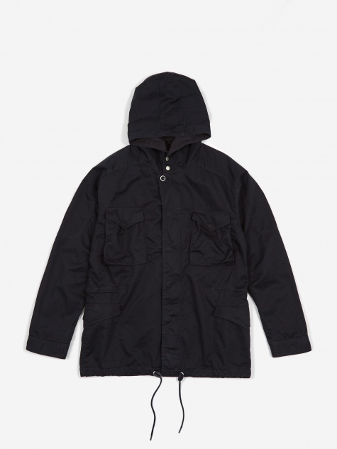 Twill Hooded Hunter Coat - Navy