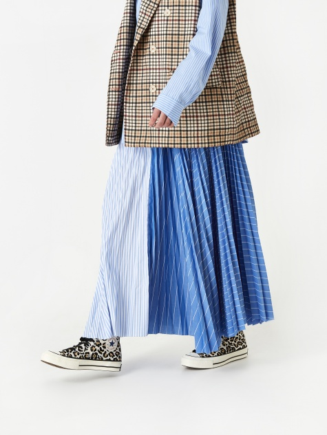 Cecile Plisse Skirt - Blue Stripe