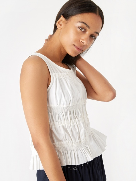 Hwaiiana Shirring Top - White