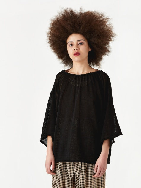 Drawstring Fine Knit Top - Black