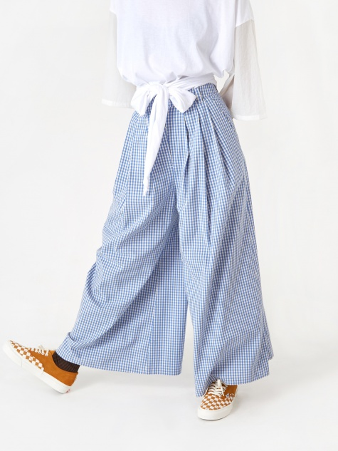Vichy 3-Tucked Wide Pant - Marina Blue