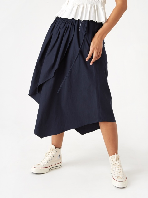 Hwaiiana Shirring Wrap Skirt - Navy