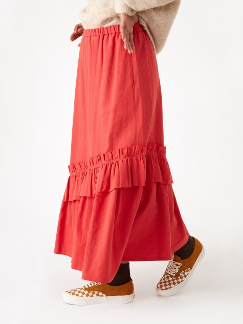 Bias Cut Shirring Skirt - Grenadine