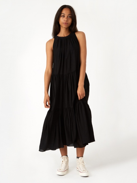 Hwaiiana Loose-Fit Trapeze Dress - Black