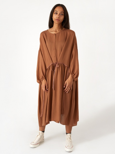 Ruffle Shirring Robe Dress - Meerkat