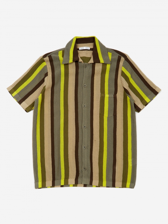CMMN SWDN Wes Knitted Short Sleeve Shirt - Multistripe (Image 1)