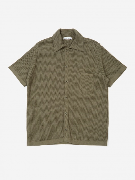 Wes Knitted Short Sleeve Shirt - Grey